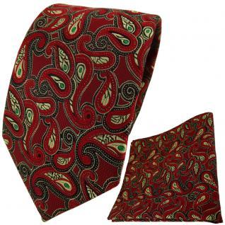 TigerTie Krawatte + Einstecktuch in rot grün gold schwarz Paisley