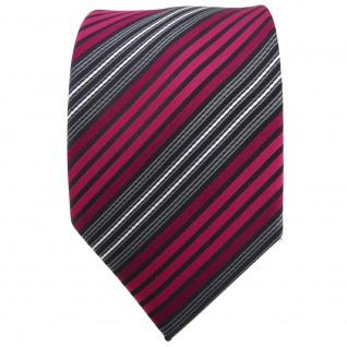 TigerTie Krawatte rot bordeaux anthrazit schwarz gestreift - Binder Tie - Vorschau 2