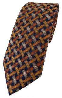 TigerTie Designer Krawatte in orange silber schwarz - Motiv Flechtmuster