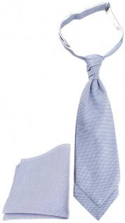 TigerTie Plastron Pique 2tlg Krawatte + Einstecktuch in blau-weiss gemustert