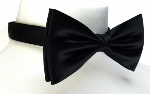 schöne TigerTie Satin Fliege + Einstecktuch schwarz Uni einfarbig + Geschenkbox - Vorschau 2