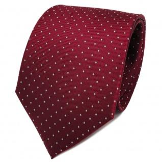 TigerTie Designer Seidenkrawatte rot bordeaux silber gepunktet - Krawatte Seide