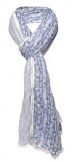 gecrashter Schal in blau hellblau weiß gemustert mit Spitze - Gr. 180 x 50 cm