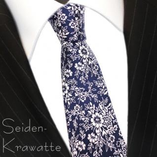 MEXX Krawatte Seide Blau Weiss mit Blumenmuster