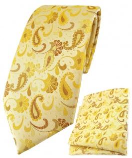 TigerTie Krawatte + Einstecktuch in gelb senfgelb gold Paisley gemustert