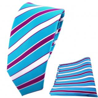 schmale TigerTie Krawatte + Einstecktuch türkis weiß magenta lila gestreift