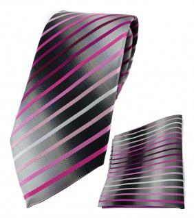 TigerTie Krawatte + Einstecktuch in rosa pink weiss silbergrau schwarz gestreift
