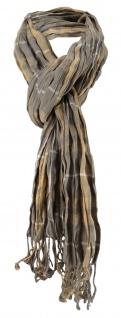 TigerTie gecrashter Schal khaki grau kariert mit Fransen - Schal Gr. 180 x 50 cm