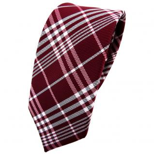 Schmale TigerTie Krawatte rot bordeaux weinrot silber grau kariert - Binder Tie