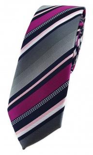 TigerTie - schmale Krawatte in magenta silber grau weiss schwarz gestreift