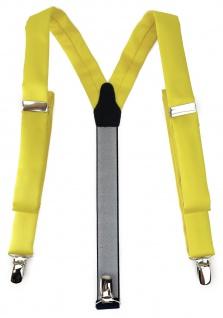 schmaler TigerTie Unisex Hosenträger mit 3 extra starken Clips - in gelb Uni