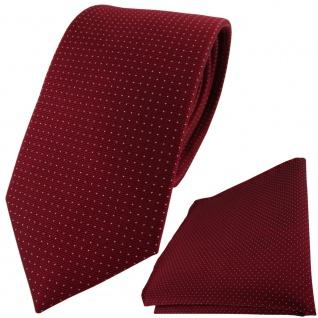 Seidenkrawatte + Einstecktuch in bordeaux silber gepunktet - Krawatte 100% Seide