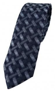 schmale TigerTie Designer Krawatte grau anthrazit schwarz - Motiv Flechtmuster