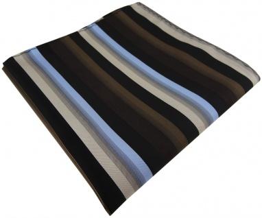 TigerTie Einstecktuch in braun blau beige schwarz gestreift - Größe 30 x 30 cm - Vorschau