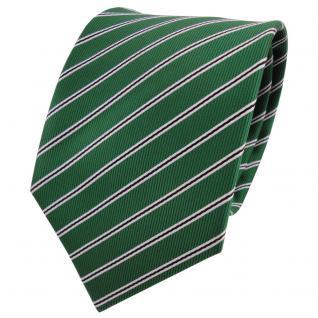 TigerTie Designer Krawatte grün smaragdgrün schwarz weiß gestreift - Binder Tie