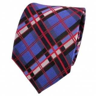TigerTie Designer Seidenkrawatte blau rot schwarz silber kariert - Krawatte