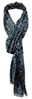 TigerTie Designer Schal in petrolblau silbergrau gemustert