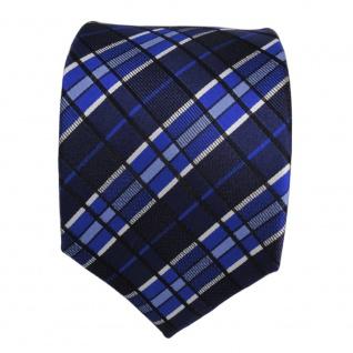 Designer Seidenkrawatte blau marine silber gestreift - Krawatte Seide Tie - Vorschau 2