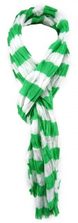 TigerTie Schal in grün weiß gestreift mit Fransen - Gr. 180 x 50 cm