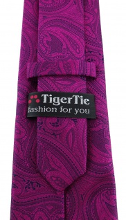 TigerTie Designer Krawatte in magenta beere lila schwarz Paisley gemustert - Vorschau 3
