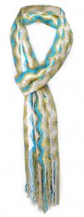 Damen Netzschal in türkis weiß gold gestreift mit Fransen - Gr. 180 x 35 cm