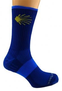 WrightSock Wandersocke -anti-blasen system- Socke marine - Stick Jakobsweg Gr.XL