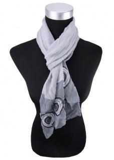 Damen Schal Faltenschal Halstuch in grau anthrazit schwarz 145 cm x 45 cm - Tuch