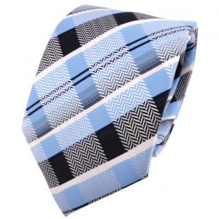 schöne TigerTie Krawatte in blau hellblau silber weiß marine gestreift - Binder Tie