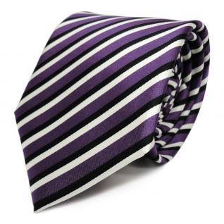 Elegante Designer Krawatte - Schlips Binder lila schwarz weiss gestreift - Tie
