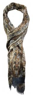 TigerTie Schal in braun anthrazit beige grau blau Paisley gemustert