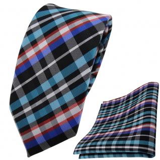 schmale TigerTie Krawatte + Einstecktuch türkis orange blau schwarz silber