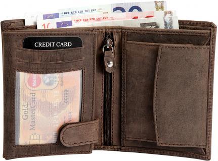 Echtleder Geldbeutel in braun mit verschiedenen Fächer - Leder in Retro-Look