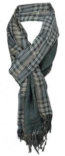 TigerTie Schal in dunkelgrün silbergrau kariert mit Fransen - Schal 180 x 50 cm
