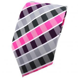 TigerTie Krawatte lila violett pink grau anthrazit weiß gestreift - Binder Tie