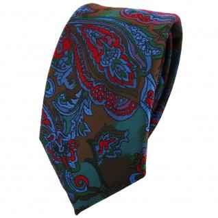 Schmale TigerTie Krawatte in rot blau flieder grün mehrfarbig Paisley gemustert
