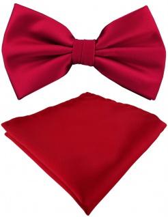 TigerTie Satin Fliege + Einstecktuch in rot Uni einfarbig + Geschenkbox
