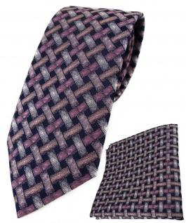 TigerTie Krawatte + Einstecktuch in rosa lachs schwarz - Motiv Flechtmuster