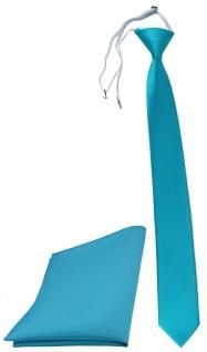 TigerTie Sicherheits Krawatte + Einstecktuch türkisblau einfarbig Uni Rips