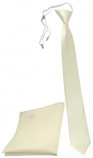 XXL TigerTie Sicherheits Krawatte + Einstecktuch beige elfenbein einfarbig Rips