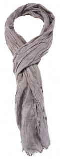 TigerTie - gecrashter Schal in grau einfarbig - Gr. 180 x 50 cm