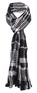 gecrashter Schal in schwarz weiß grau kariert mit Fransen - Gr. 180 x 50 cm