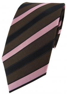 TigerTie Seidenkrawatte braun dunkelbraun rosa gestreift - Krawatte Seide Silk