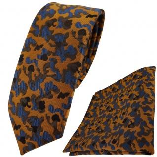 schmale TigerTie Krawatte + Einstecktuch braun bronze blau schwarz Camouflage
