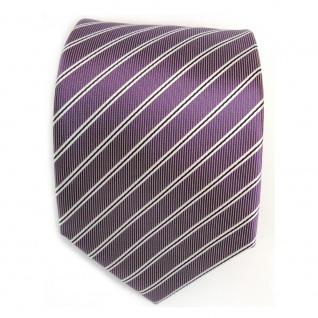 Schicke Designer Krawatte - Schlips Binder lila schwarz weiss gestreift - Tie - Vorschau 2