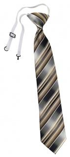 TigerTie Security Sicherheits Krawatte in braun silber anthrazit grau gestreift