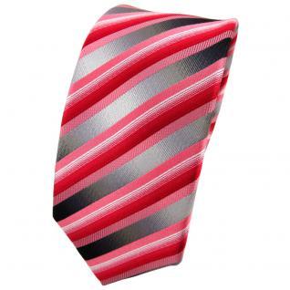 Schmale TigerTie Seidenkrawatte rot anthrazit silber gestreift - Krawatte Seide