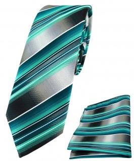 schmale TigerTie Krawatte + Einstecktuch grün dunkelgrün silber grau gestreift