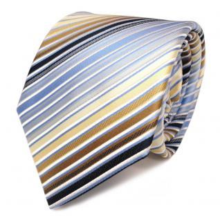 Schicke Seidenkrawatte blau weiss gold gestreift - Krawatte Seide Tie