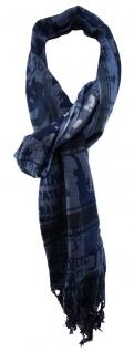 TigerTie Designer Schal in blau dunkelblau grau schwarz gemustert mit Fransen