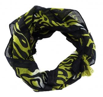 Halstuch olive gelbgrün grau schwarz mit Tusseln an den Ecken - Gr. 100 x 100 cm